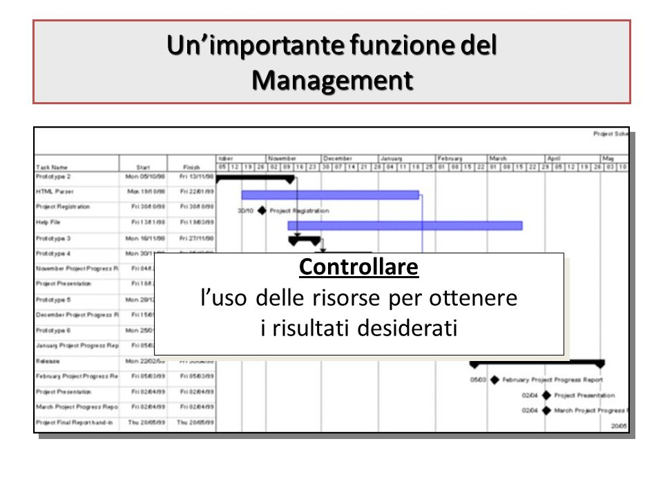 Unimportante funzione del Management Controllare luso delle risorse per ottenere i risultati desiderati Controllare luso delle risorse per ottenere i risultati desiderati