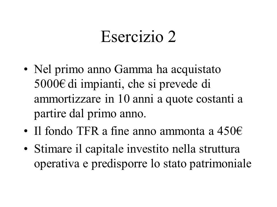 Esercizio 2 Nel primo anno Gamma ha acquistato 5000 di impianti, che si prevede di ammortizzare in 10 anni a quote costanti a partire dal primo anno.