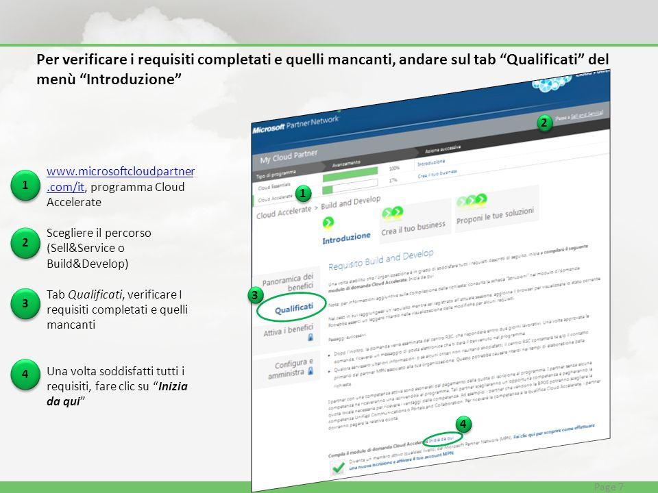 www.microsoftcloudpartner.com/itwww.microsoftcloudpartner.com/it, programma Cloud Accelerate Scegliere il percorso (Sell&Service o Build&Develop) Tab Qualificati, verificare I requisiti completati e quelli mancanti Una volta soddisfatti tutti i requisiti, fare clic su Inizia da qui Per verificare i requisiti completati e quelli mancanti, andare sul tab Qualificati del menù Introduzione 1 1 2 2 3 3 4 4 Page 7 1 1 2 2 3 3 4 4