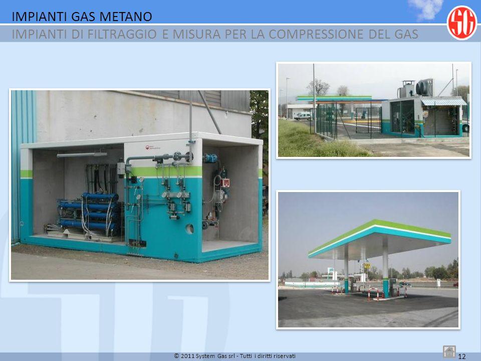IMPIANTI GAS METANO IMPIANTI DI FILTRAGGIO E MISURA PER LA COMPRESSIONE DEL GAS 12 © 2011 System Gas srl - Tutti i diritti riservati