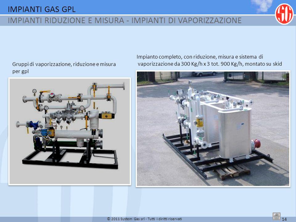 Impianto completo, con riduzione, misura e sistema di vaporizzazione da 300 Kg/h x 3 tot. 900 Kg/h, montato su skid IMPIANTI GAS GPL IMPIANTI RIDUZION