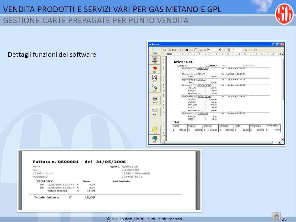 25 © 2011 System Gas srl - Tutti i diritti riservati Dettagli funzioni del software VENDITA PRODOTTI E SERVIZI VARI PER GAS METANO E GPL GESTIONE CART