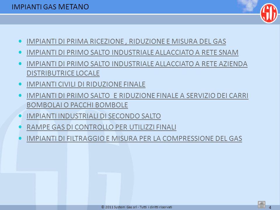 © 2011 System Gas srl - Tutti i diritti riservati 5 Tipologia Cliente: Cementeria industriale Q: 5.000 Sm3/h P1: 12/75 barg P2: 4.5 barg Regolatori: MFL/040+PS/79 Misura: Contatore a rotoidi G650 DN150+Correttore PTZ IMPIANTI GAS METANO IMPIANTI DI PRIMA RICEZIONE, RIDUZIONE E MISURA DEL GAS