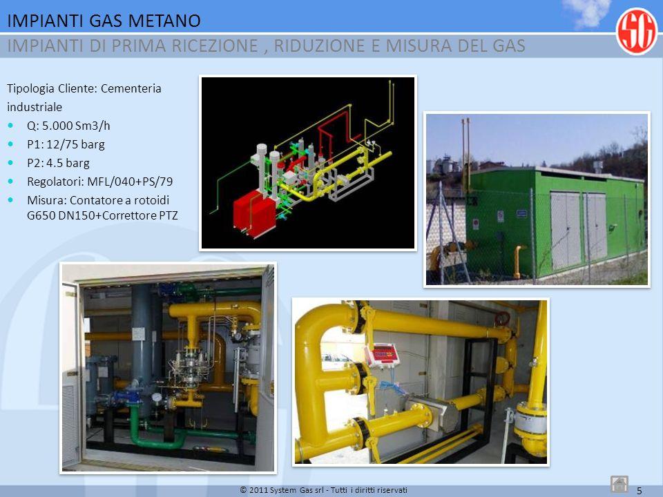 6 Tipologia Cliente: Industria per la fabbricazione di isolamento termo-acustico, imballaggio alimentare ed industriale Q: 1.400 Sm3/h P1: 7/12 barg P2: 0.3 barg Regolatori:MFL-BP/025 + PS/79-2 +PRX 120 Misura:Contatore a Turbina G160 DN80+Correttore PTZ IMPIANTI GAS METANO IMPIANTI DI PRIMO SALTO INDUSTRIALE ALLACCIATO A RETE SNAM © 2011 System Gas srl - Tutti i diritti riservati