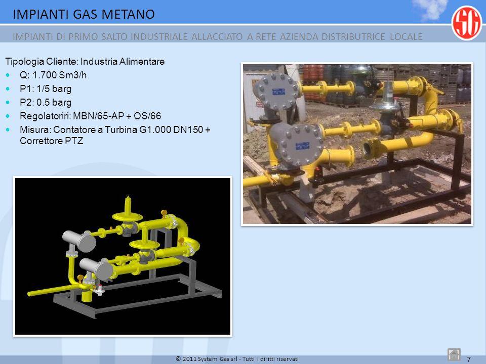 IMPIANTI GAS METANO IMPIANTI CIVILI DI RIDUZIONE FINALE 8 © 2011 System Gas srl - Tutti i diritti riservati Q: 300 Sm3/h P1: 0,5/5 barg P2: 0,02/0,03 barg Regolatori: CCBS/025+PS/79-1+OS/80X-BP