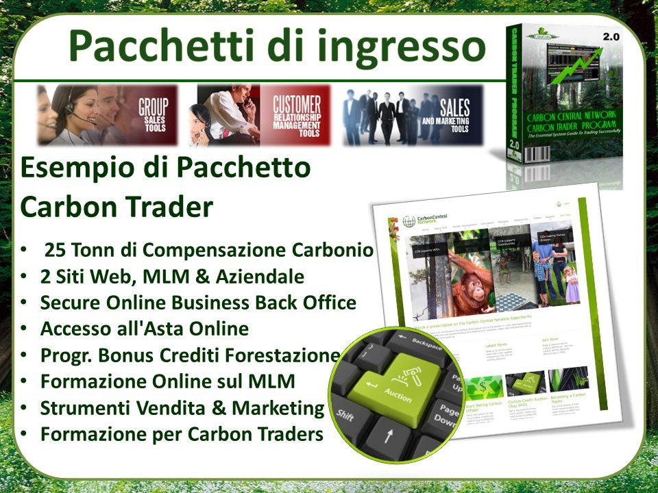 Esempio di Pacchetto Carbon Trader 25 Tonn di Compensazione Carbonio 2 Siti Web, MLM & Aziendale Secure Online Business Back Office Accesso all'Asta O