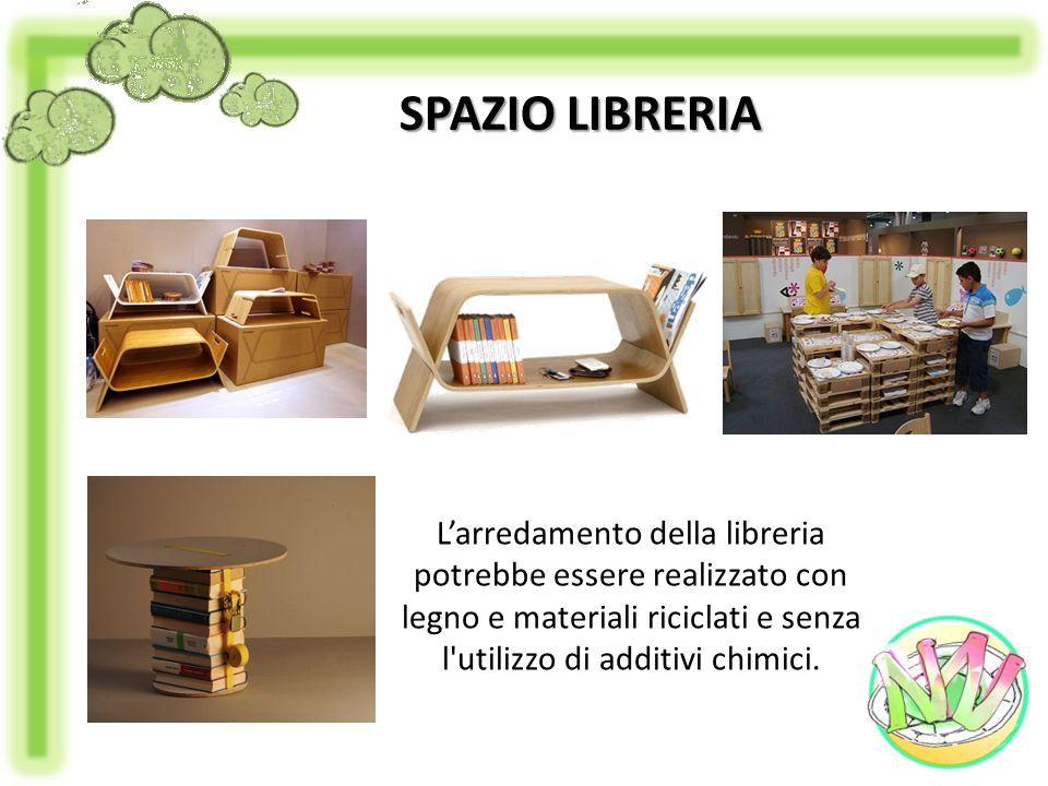 Larredamento della libreria potrebbe essere realizzato con legno e materiali riciclati e senza l'utilizzo di additivi chimici. SPAZIO LIBRERIA