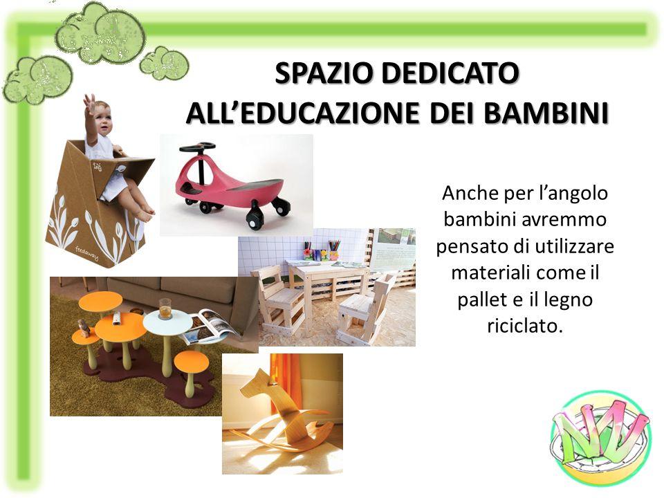 Anche per langolo bambini avremmo pensato di utilizzare materiali come il pallet e il legno riciclato. SPAZIO DEDICATO ALLEDUCAZIONE DEI BAMBINI