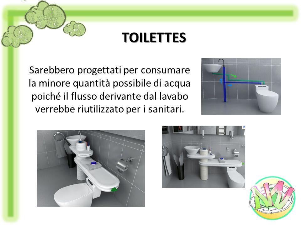 Sarebbero progettati per consumare la minore quantità possibile di acqua poiché il flusso derivante dal lavabo verrebbe riutilizzato per i sanitari. T