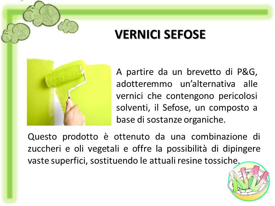 VERNICI SEFOSE A partire da un brevetto di P&G, adotteremmo unalternativa alle vernici che contengono pericolosi solventi, il Sefose, un composto a ba