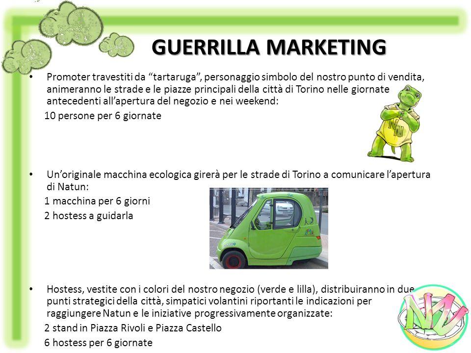 GUERRILLA MARKETING Promoter travestiti da tartaruga, personaggio simbolo del nostro punto di vendita, animeranno le strade e le piazze principali del