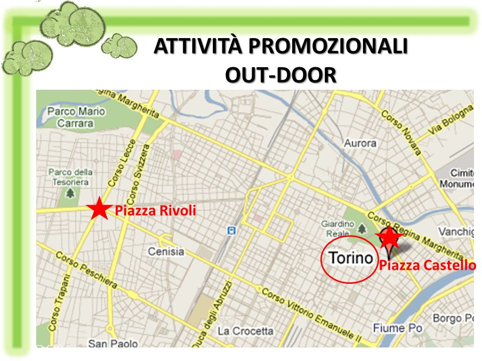 Piazza Rivoli Piazza Castello ATTIVITÀ PROMOZIONALI OUT-DOOR
