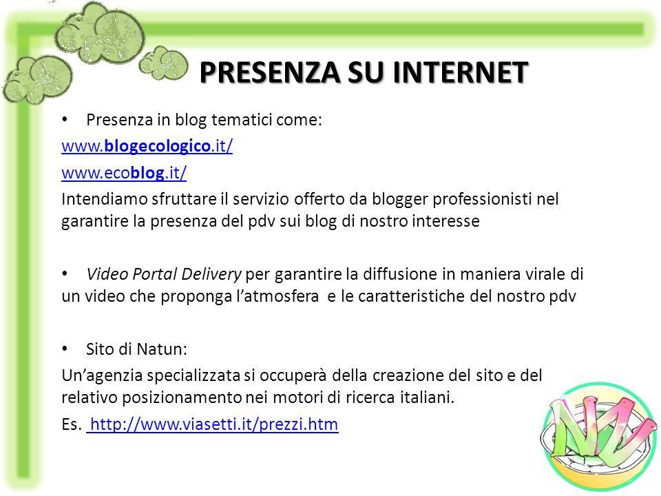 PRESENZA SU INTERNET Presenza in blog tematici come: www.blogecologico.it/ www.ecoblog.it/ Intendiamo sfruttare il servizio offerto da blogger profess