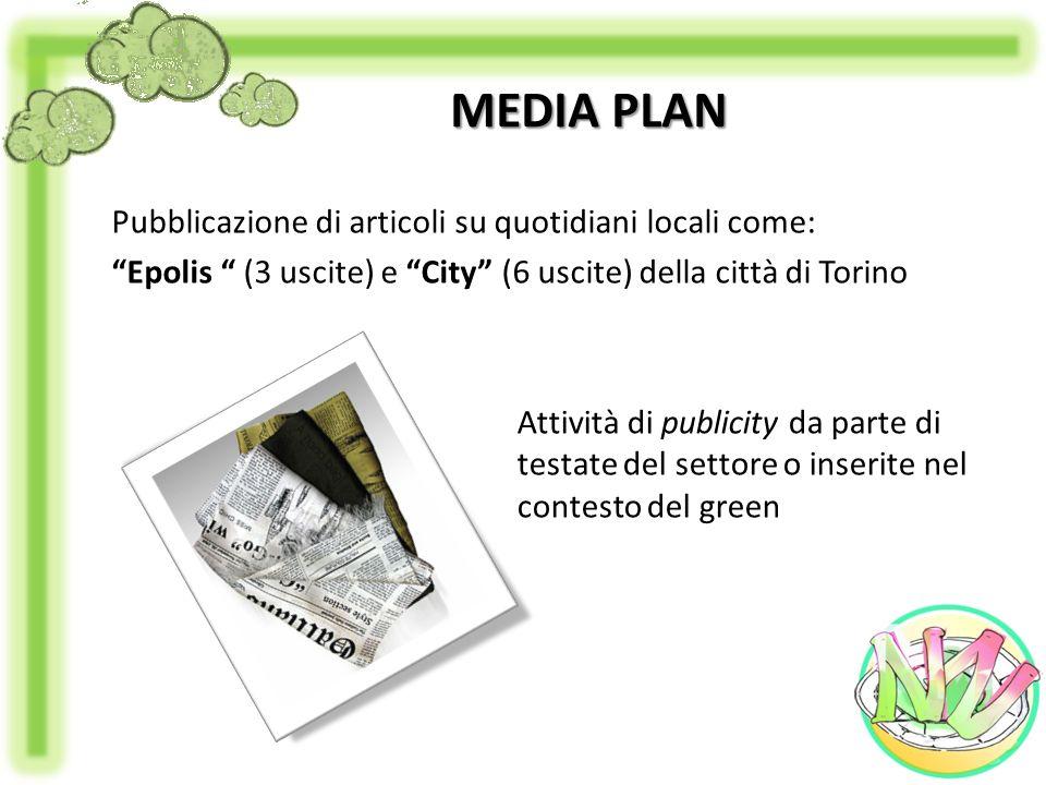 MEDIA PLAN Pubblicazione di articoli su quotidiani locali come: Epolis (3 uscite) e City (6 uscite) della città di Torino Attività di publicity da par