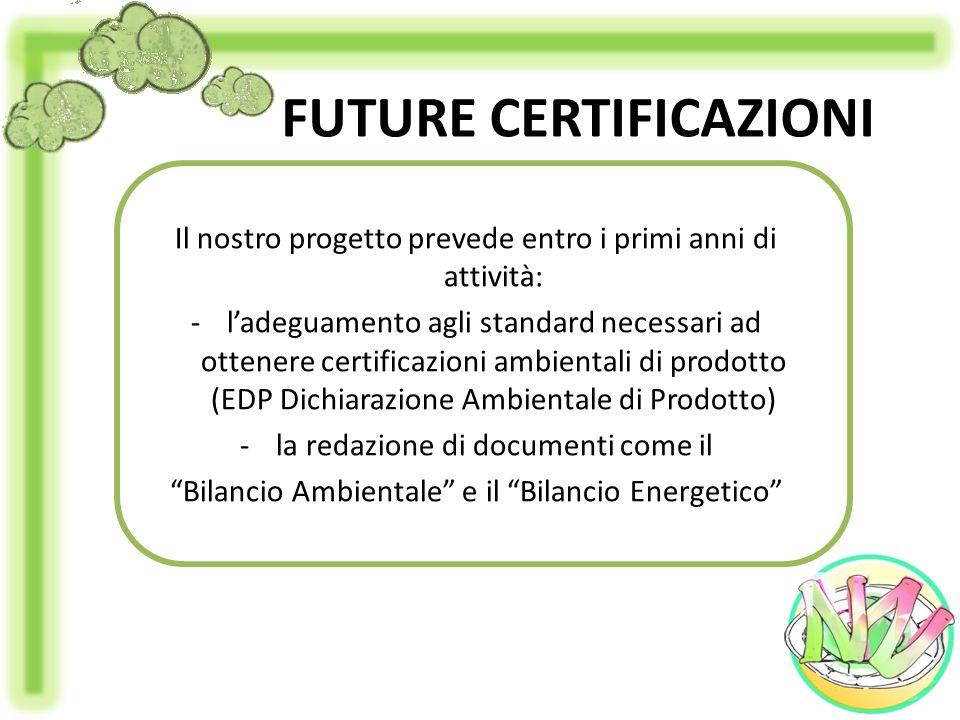 FUTURE CERTIFICAZIONI Il nostro progetto prevede entro i primi anni di attività: -ladeguamento agli standard necessari ad ottenere certificazioni ambi