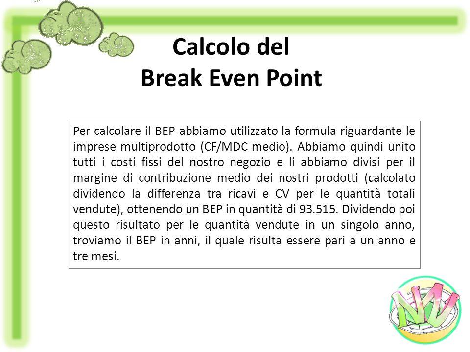 Calcolo del Break Even Point Per calcolare il BEP abbiamo utilizzato la formula riguardante le imprese multiprodotto (CF/MDC medio). Abbiamo quindi un