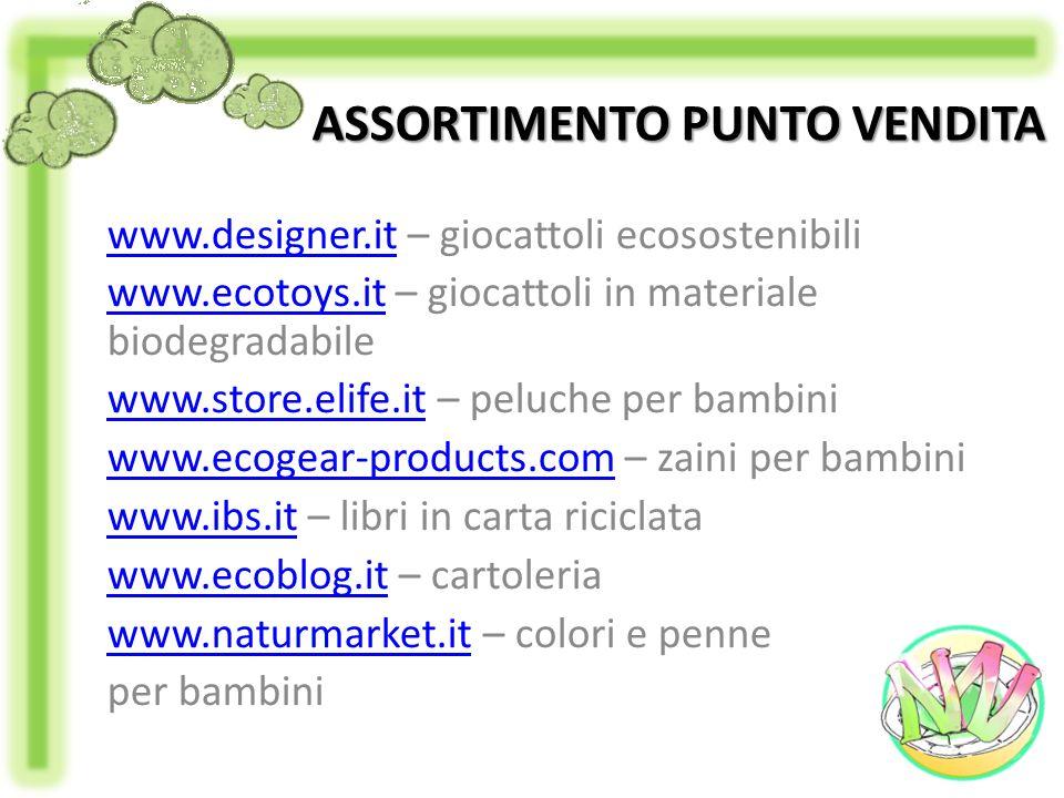 ASSORTIMENTO PUNTO VENDITA www.designer.itwww.designer.it – giocattoli ecosostenibili www.ecotoys.itwww.ecotoys.it – giocattoli in materiale biodegrad