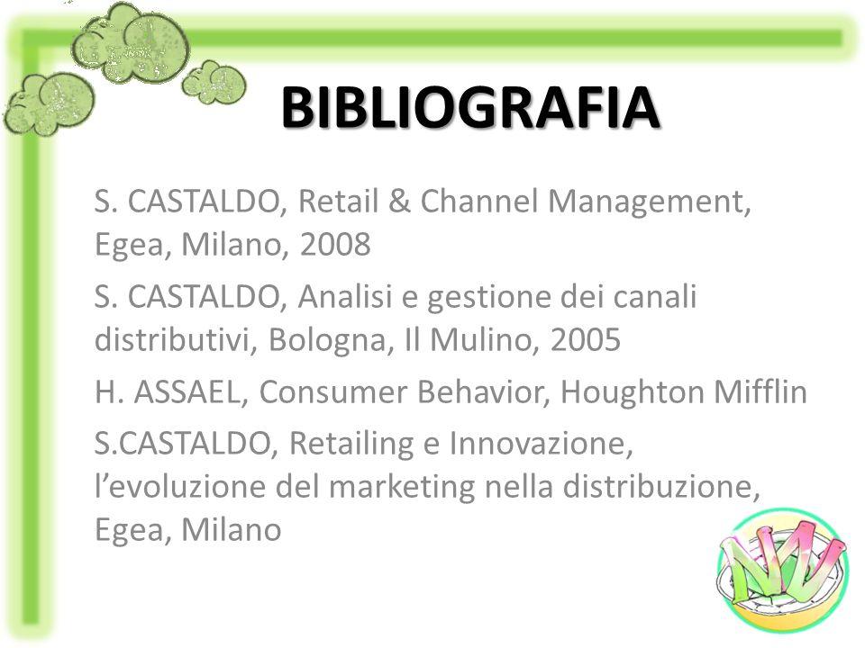 BIBLIOGRAFIA S. CASTALDO, Retail & Channel Management, Egea, Milano, 2008 S. CASTALDO, Analisi e gestione dei canali distributivi, Bologna, Il Mulino,