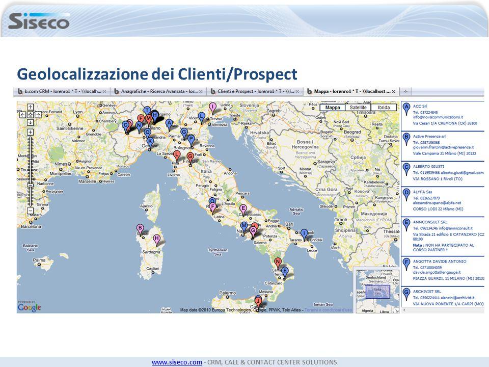 www.siseco.comwww.siseco.com - CRM, CALL & CONTACT CENTER SOLUTIONS Geolocalizzazione dei Clienti/Prospect