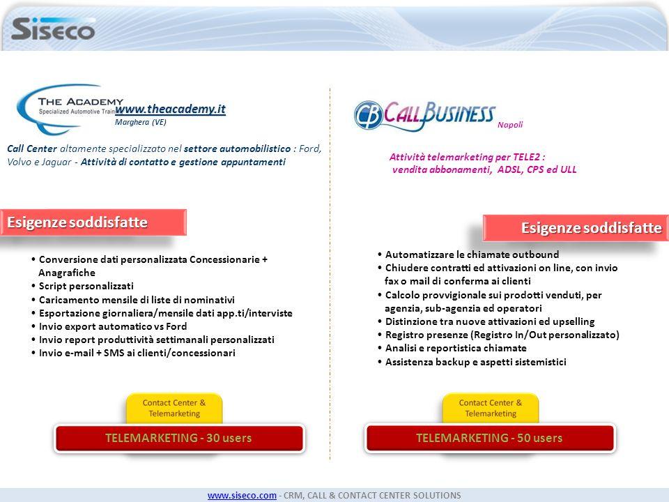 www.siseco.comwww.siseco.com - CRM, CALL & CONTACT CENTER SOLUTIONS Call Center altamente specializzato nel settore automobilistico : Ford, Volvo e Ja