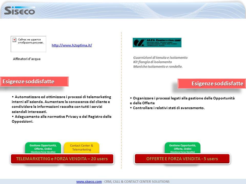 www.siseco.comwww.siseco.com - CRM, CALL & CONTACT CENTER SOLUTIONS Affinatori dacqua Automatizzare ed ottimizzare i processi di telemarketing interni