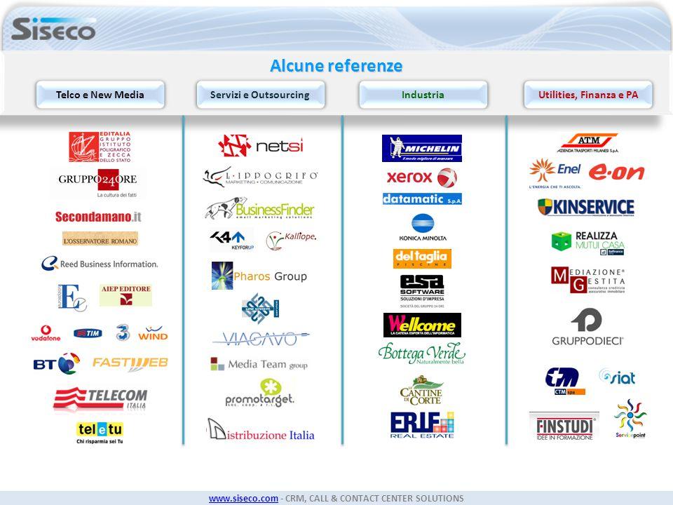 www.siseco.comwww.siseco.com - CRM, CALL & CONTACT CENTER SOLUTIONS Alcune referenze Telco e New MediaServizi e OutsourcingIndustriaUtilities, Finanza
