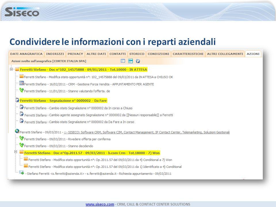 www.siseco.comwww.siseco.com - CRM, CALL & CONTACT CENTER SOLUTIONS Condividere le informazioni con i reparti aziendali