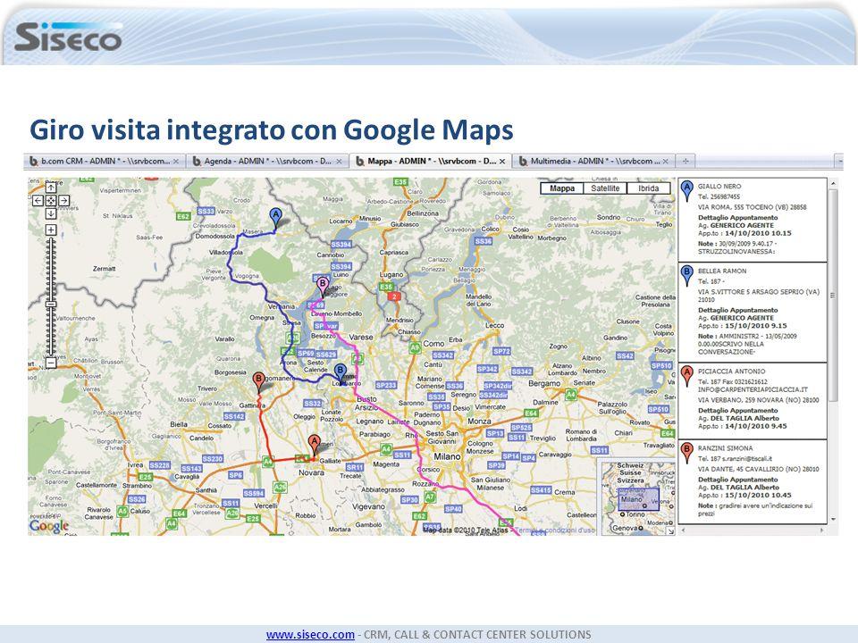 www.siseco.comwww.siseco.com - CRM, CALL & CONTACT CENTER SOLUTIONS Giro visita integrato con Google Maps
