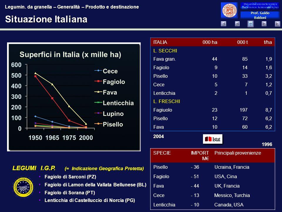 Prof. Guido Baldoni Prof. Guido Baldoni Situazione Italiana LEGUMI I.G.P. (= Indicazione Geografica Protetta) Fagiolo di Sarconi (PZ) Fagiolo di Sarco
