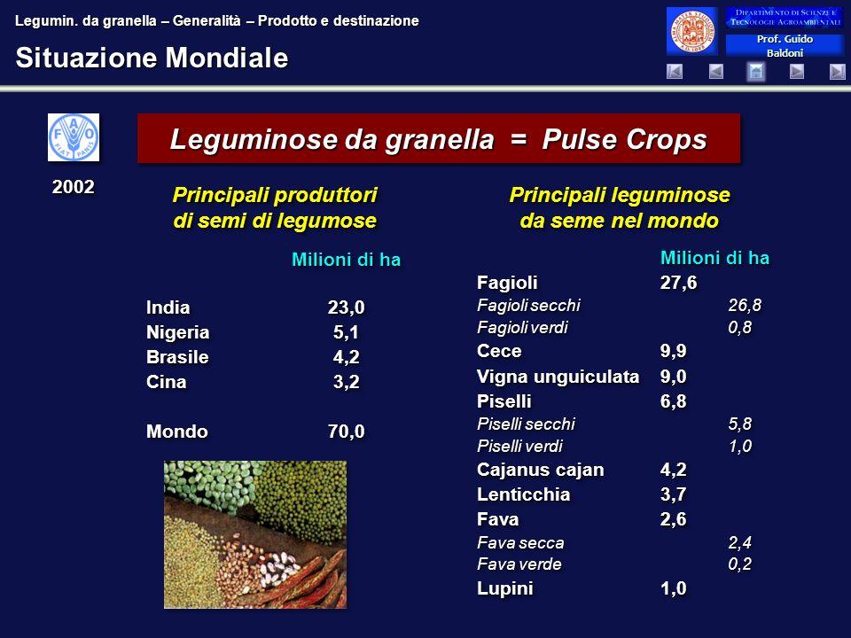 Prof. Guido Baldoni Prof. Guido Baldoni Situazione Mondiale Leguminose da granella = Pulse Crops Principali leguminose da seme nel mondo Milioni di ha
