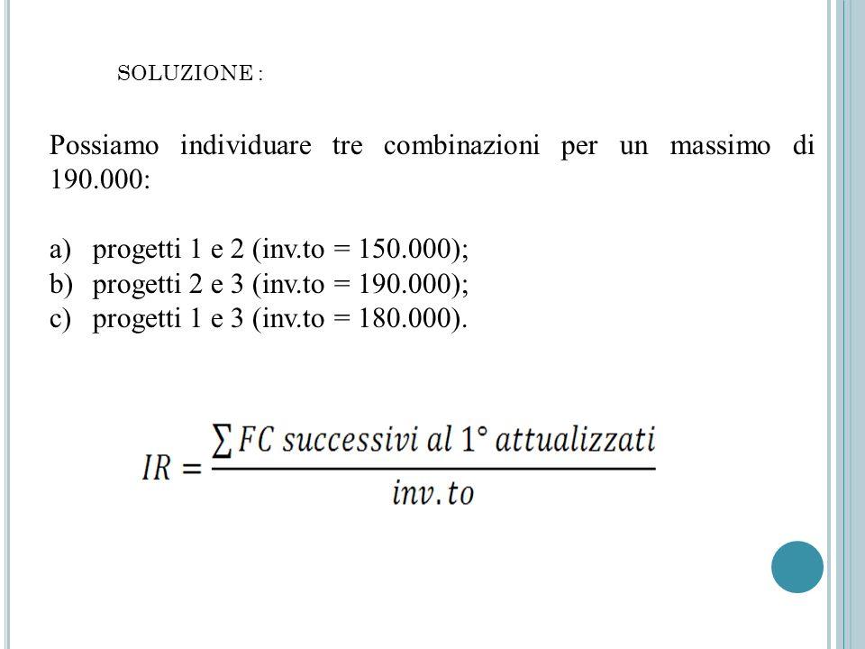 SOLUZIONE : Possiamo individuare tre combinazioni per un massimo di 190.000: a)progetti 1 e 2 (inv.to = 150.000); b)progetti 2 e 3 (inv.to = 190.000);