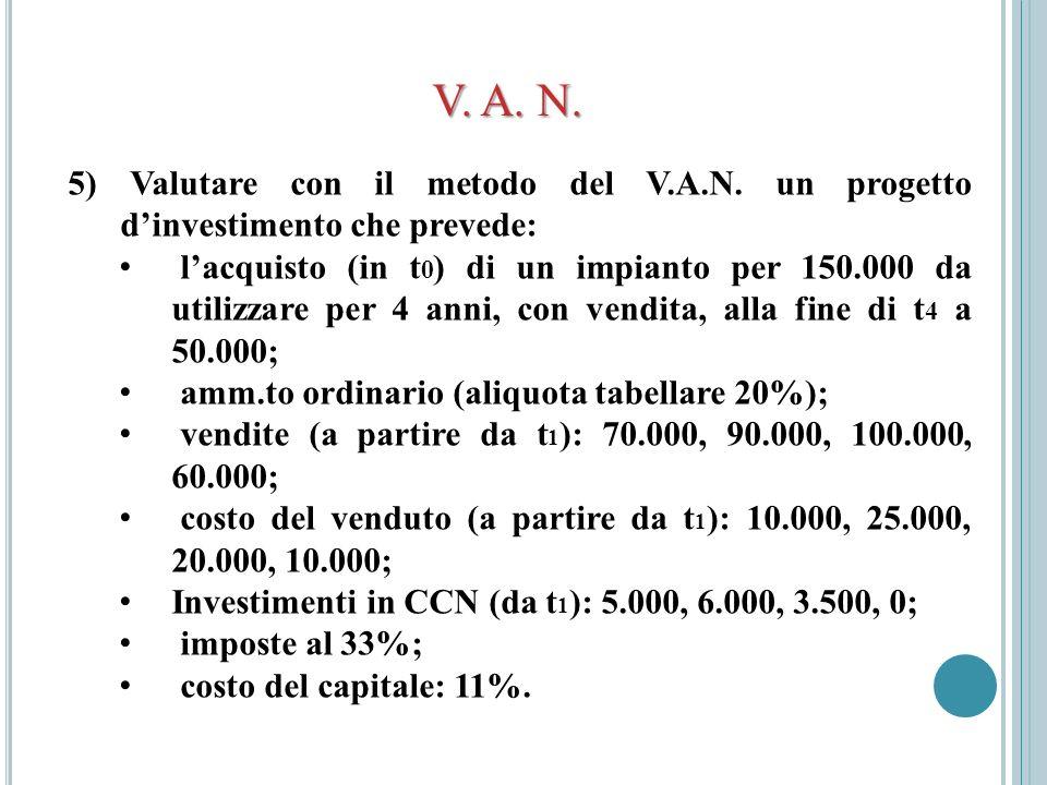 V. A. N. 5) Valutare con il metodo del V.A.N. un progetto dinvestimento che prevede: lacquisto (in t 0 ) di un impianto per 150.000 da utilizzare per