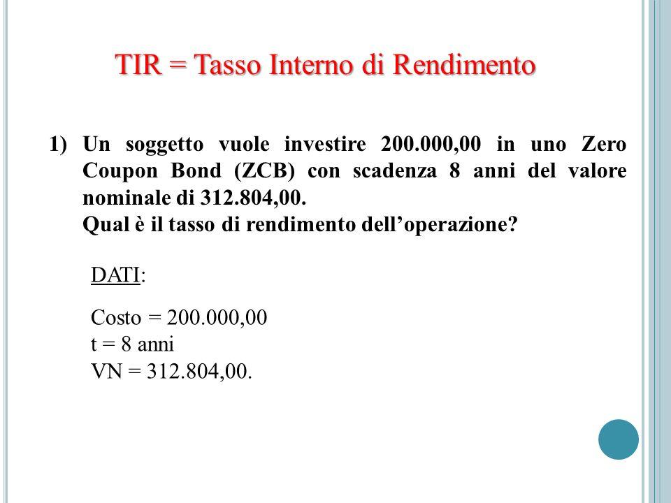 TIR = Tasso Interno di Rendimento 1)Un soggetto vuole investire 200.000,00 in uno Zero Coupon Bond (ZCB) con scadenza 8 anni del valore nominale di 31