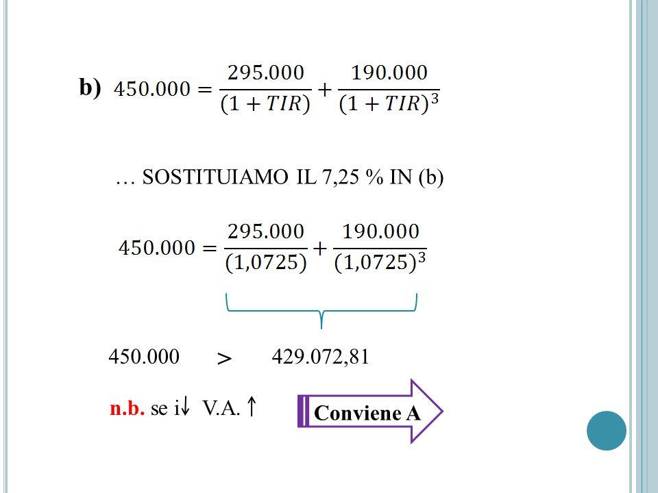 … SOSTITUIAMO IL 7,25 % IN (b) b) 429.072,81 > 450.000 n.b. se i V.A. Conviene A
