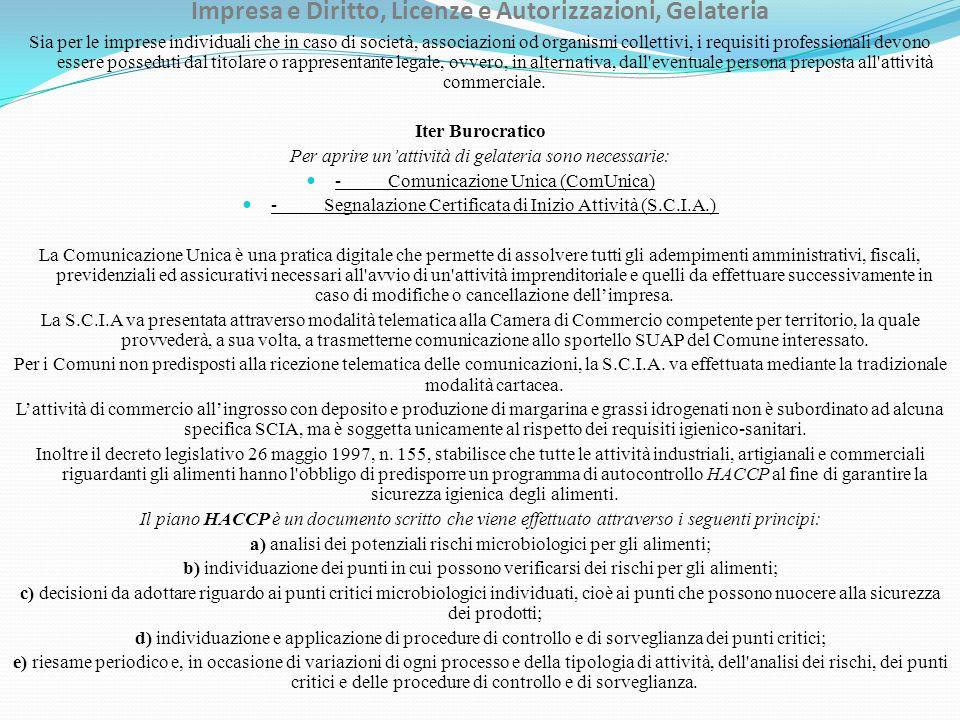 Impresa e Diritto, Licenze e Autorizzazioni, Gelateria Riferimenti Normativi Nazionali Legge quadro sullartigianato n.