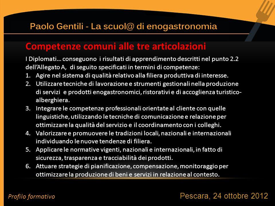 Pescara, 24 ottobre 2012 I Diplomati… conseguono i risultati di apprendimento descritti nel punto 2.2 dellAllegato A, di seguito specificati in termini di competenze: 1.Agire nel sistema di qualità relativo alla filiera produttiva di interesse.