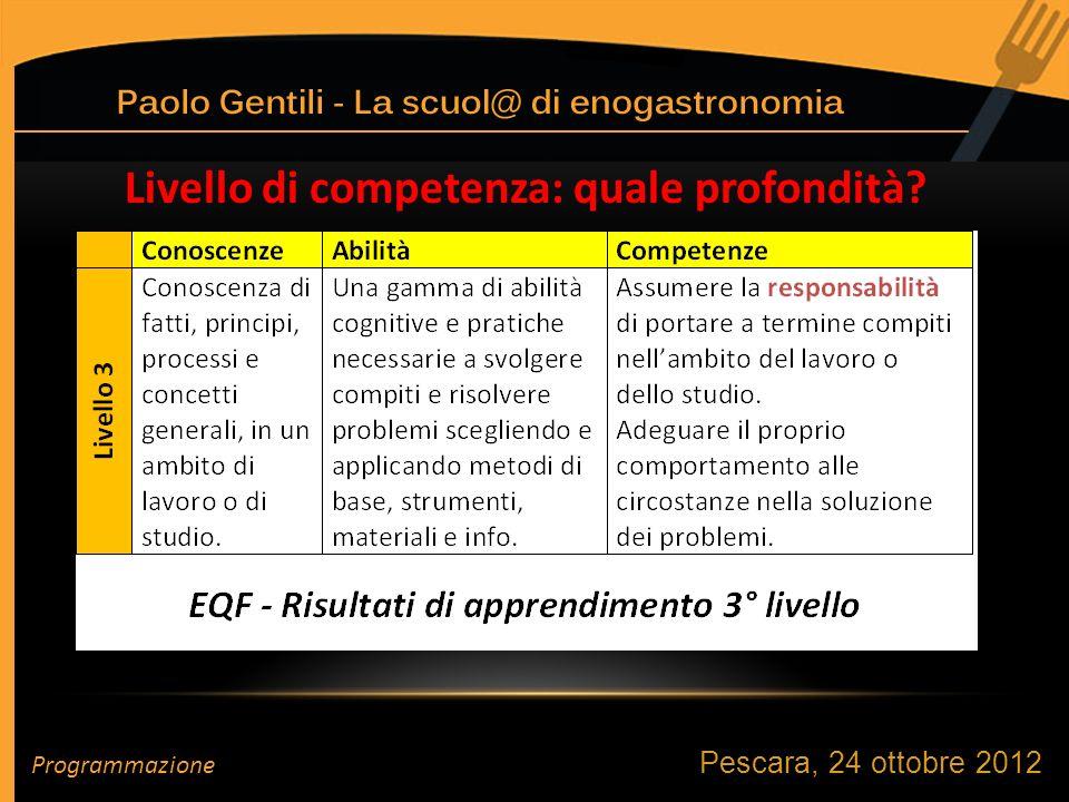 Pescara, 24 ottobre 2012 Programmazione Livello di competenza: quale profondità