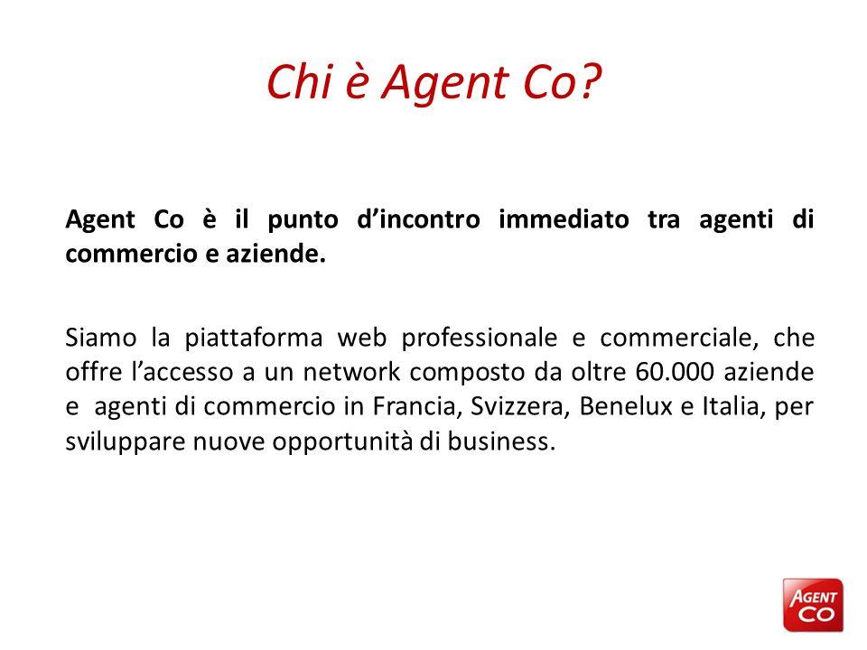 Chi è Agent Co? Agent Co è il punto dincontro immediato tra agenti di commercio e aziende. Siamo la piattaforma web professionale e commerciale, che o