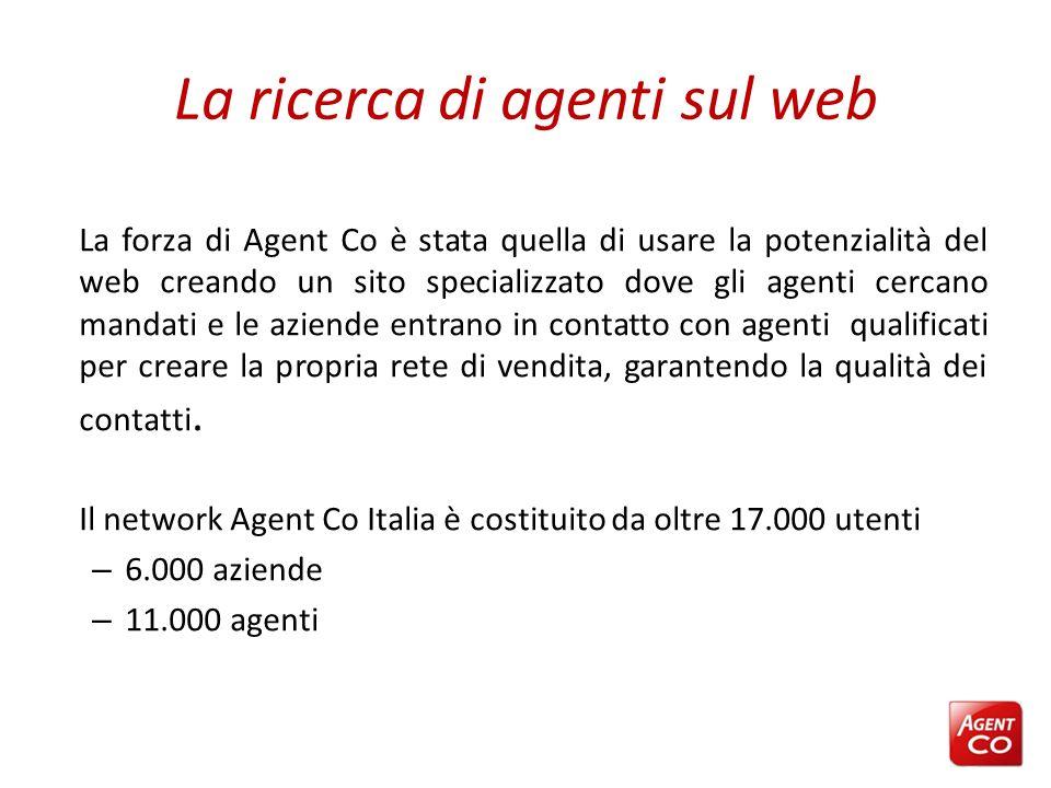La ricerca di agenti sul web La forza di Agent Co è stata quella di usare la potenzialità del web creando un sito specializzato dove gli agenti cercan