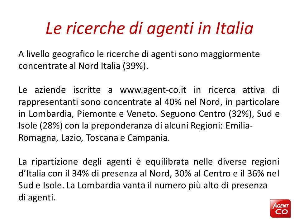 Le ricerche di agenti in Italia A livello geografico le ricerche di agenti sono maggiormente concentrate al Nord Italia (39%). Le aziende iscritte a w