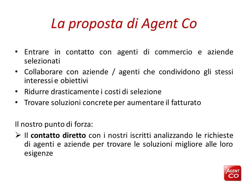 La proposta di Agent Co Entrare in contatto con agenti di commercio e aziende selezionati Collaborare con aziende / agenti che condividono gli stessi