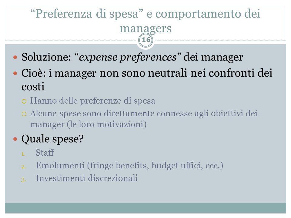 Preferenza di spesa e comportamento dei managers Soluzione: expense preferences dei manager Cioè: i manager non sono neutrali nei confronti dei costi