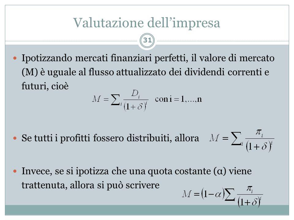 Valutazione dellimpresa Ipotizzando mercati finanziari perfetti, il valore di mercato (M) è uguale al flusso attualizzato dei dividendi correnti e fut