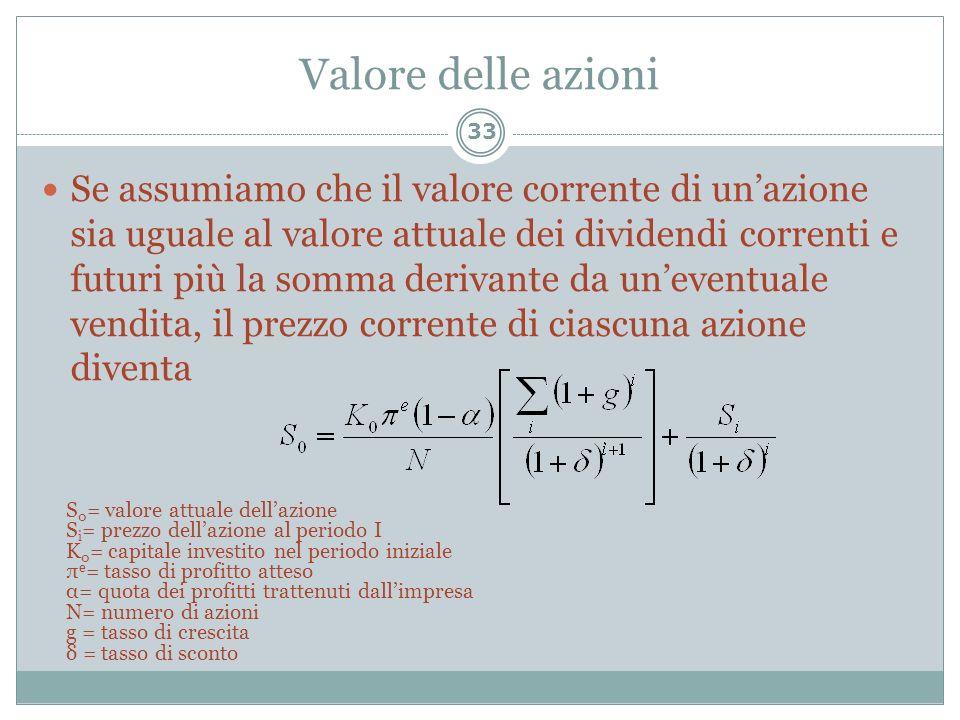 Valore delle azioni Se assumiamo che il valore corrente di unazione sia uguale al valore attuale dei dividendi correnti e futuri più la somma derivant