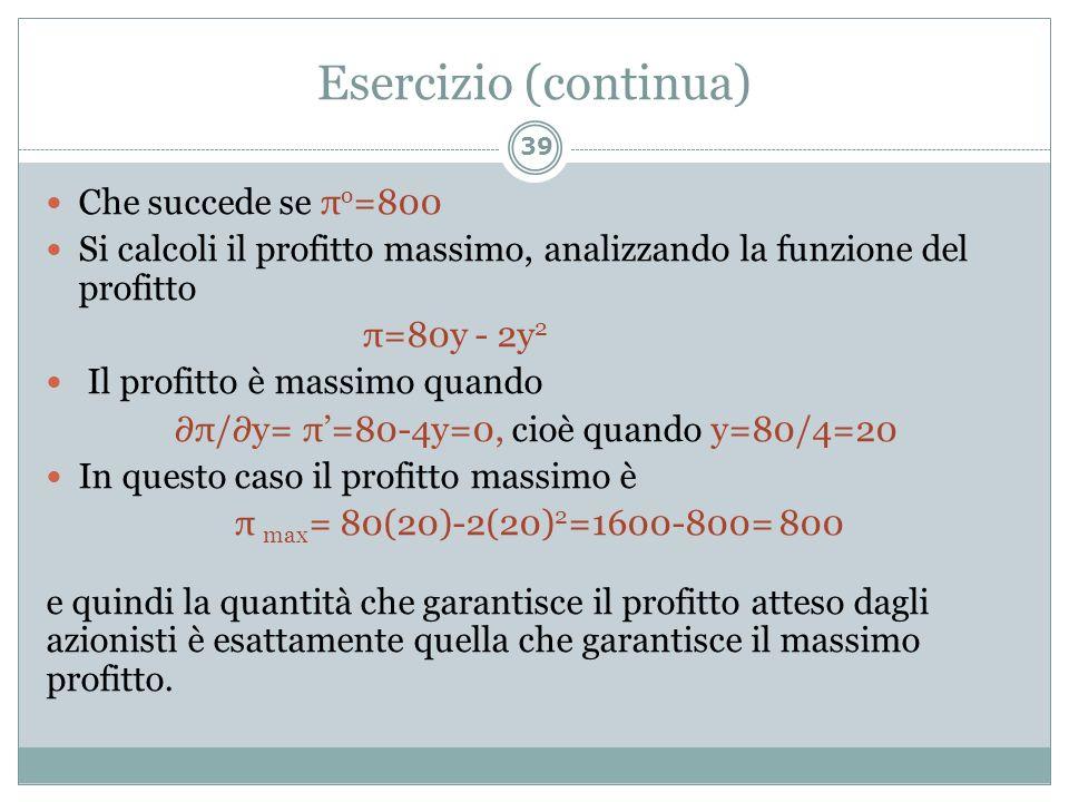 Esercizio (continua) 39 Che succede se π o =800 Si calcoli il profitto massimo, analizzando la funzione del profitto π=80y - 2y 2 Il profitto è massim