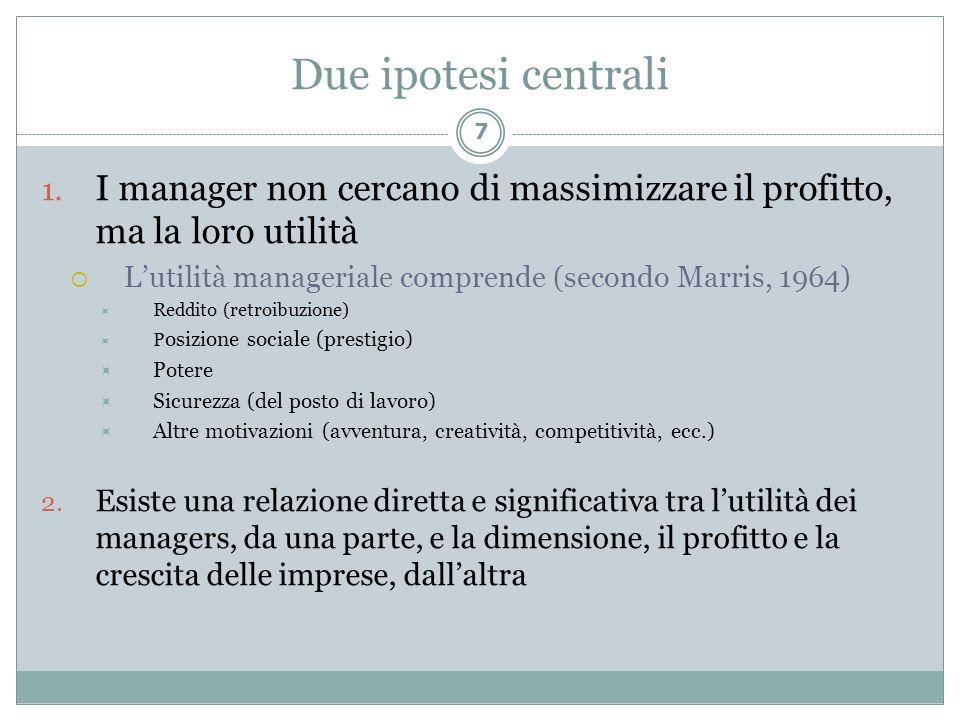 Due ipotesi centrali 1. I manager non cercano di massimizzare il profitto, ma la loro utilità Lutilità manageriale comprende (secondo Marris, 1964) Re