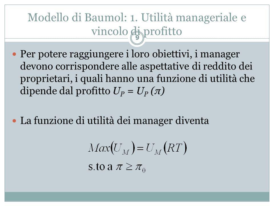 Modello di Baumol: 1. Utilità manageriale e vincolo di profitto Per potere raggiungere i loro obiettivi, i manager devono corrispondere alle aspettati