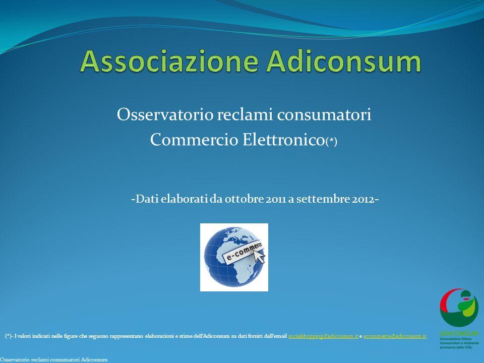 Osservatorio reclami consumatori Commercio Elettronico (*) (*)- I valori indicati nelle figure che seguono rappresentano elaborazioni e stime dellAdic
