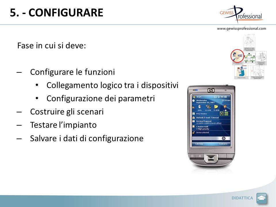5. - CONFIGURARE Fase in cui si deve: – Configurare le funzioni Collegamento logico tra i dispositivi Configurazione dei parametri – Costruire gli sce