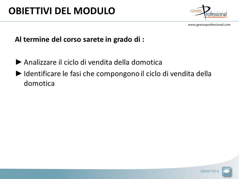 Al termine del corso sarete in grado di : Analizzare il ciclo di vendita della domotica Identificare le fasi che compongono il ciclo di vendita della domotica OBIETTIVI DEL MODULO